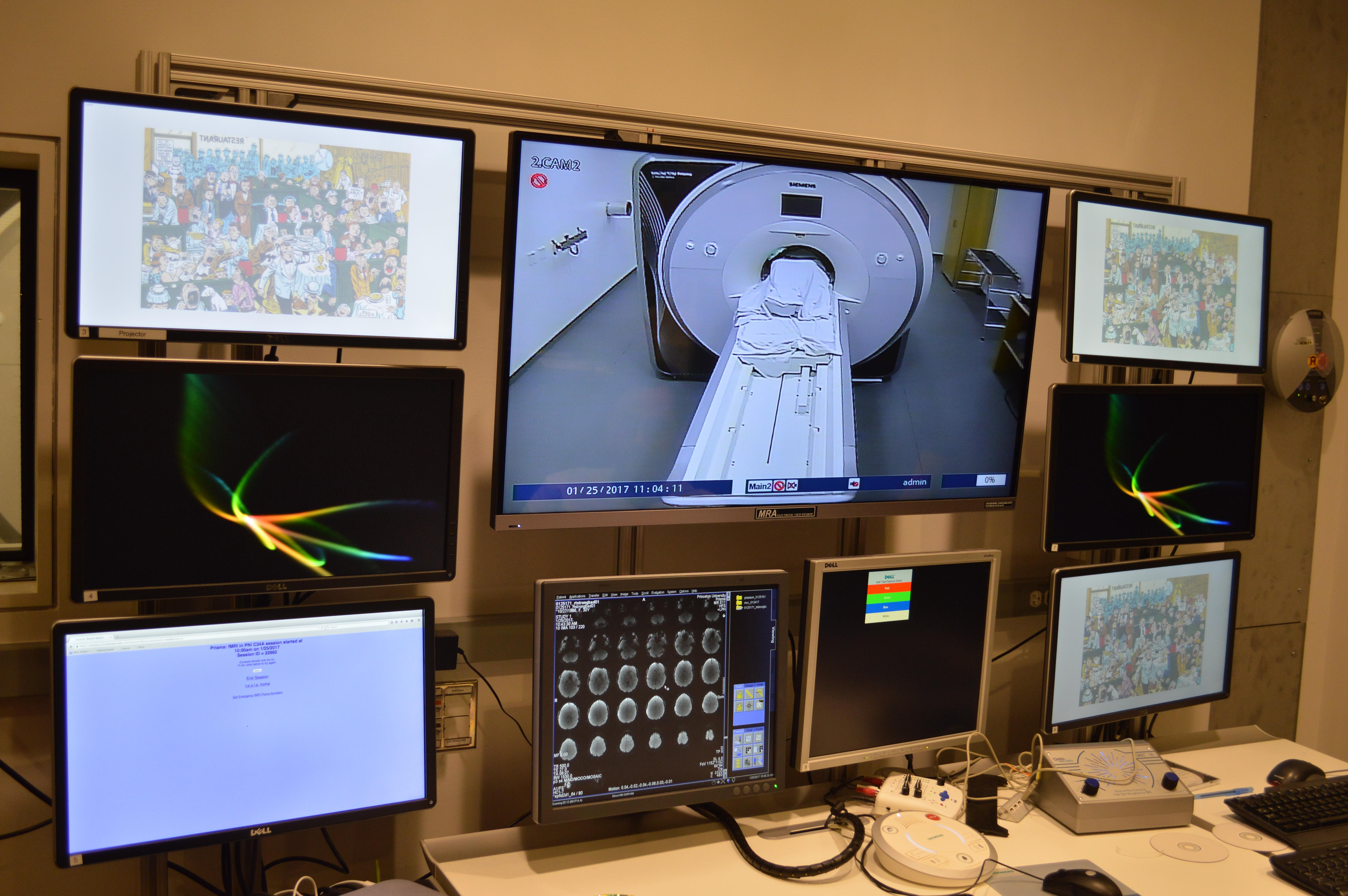 Computer screens showing images, Princeton Neuroscience Institute