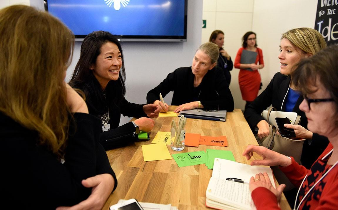 """Lynn Loo (left), director of the Andlinger Center for Energy and the Environment, participates in an """"Ideas Lab"""" discussion on climate change at the annual World Economic Forum in Davos"""