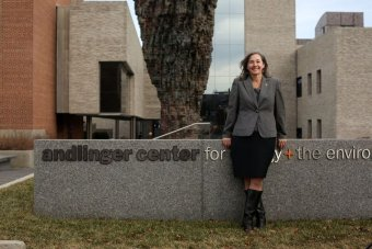 Coleen Burrus standing in front of the Andlinger Center at Princeton University