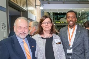 ean for Research Pablo Debenedetti, PEC Executive Director Anne-Marie Maman, and Vice Dean for Innovation Rodney Priestley at the 2019 Celebrate Princeton Innovation reception.