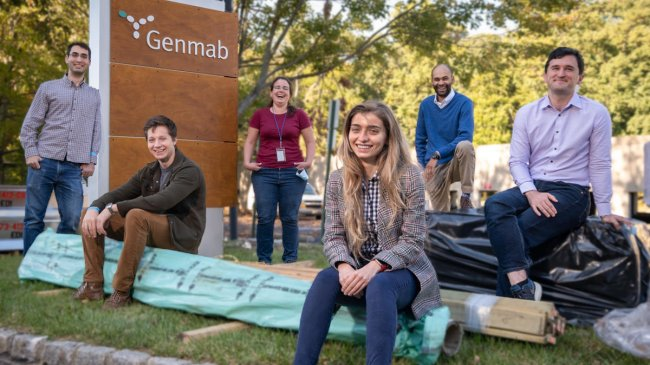 Princeton researchers and Genmab scientists held a jumpstart meeting in Plainsboro earlier this month: (l to r) Daniel Martin, Noah Bissonnette, Patricia Coutinho de Souza, Marie Zamanis, Angelo Harris, and Jacob Geri. Photo by C. Todd Reichart