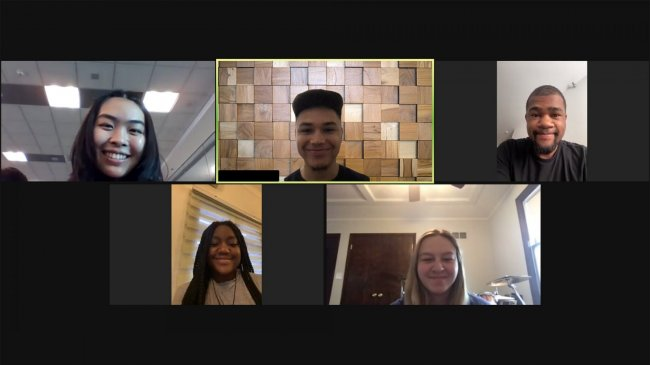 Five program participants on a Zoom call