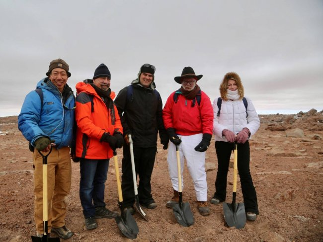 From left: Professor Adrian Lee of UC Berkeley, Professor Spergel, Professor Brian Keating of UC San Diego, Dr. Jim Simons of the Simons Foundation and Dr. Marilyn Simons of the Simons Foundation.