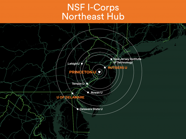 Map of the Northeast Region and the principal, partner and affiliate institutions of the new I-Corps Northeast Hub