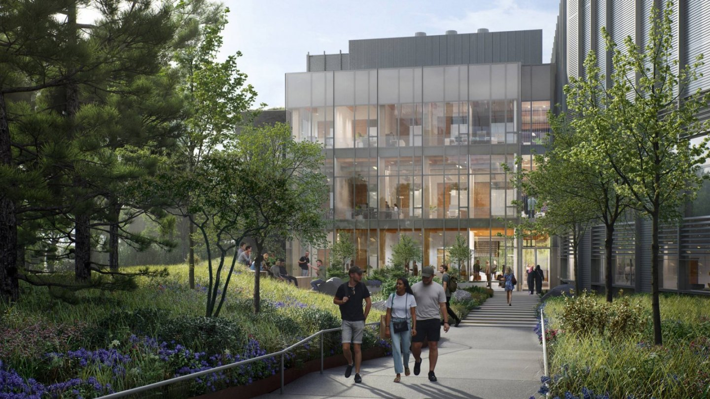 An architect's rendering of the west entrance of the new ES + SEAS building complex