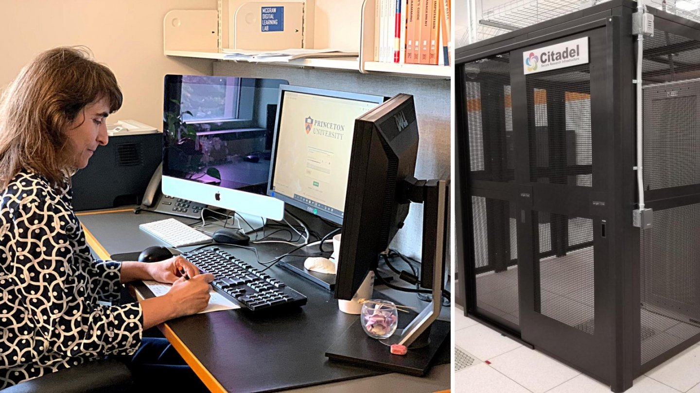 Boriana Pratt works in her office using Citadel, and servers are locked in a cage
